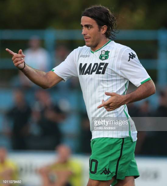 Alessandro Matri of US Sassuolo Calcio gestures during the Sportitalia Cup 2018 tournament match between Parma Calcio and US Sassuolo on August 4...