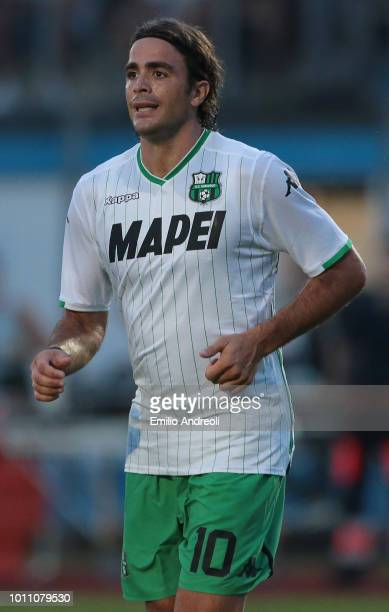 Alessandro Matri of US Sassuolo Calcio looks on during the Sportitalia Cup 2018 tournament match between Parma Calcio and US Sassuolo on August 4...