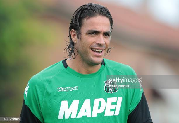 Alessandro Matri of US Sassuolo Calcio looks on prior to the Sportitalia Cup 2018 tournament match between Folgore Caratese and US Sassuolo on August...