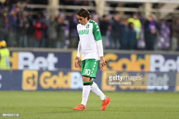 Alessandro Matri of US Sassuolo Calcio shows his dejection during the Serie A match between ACF Fiorentina and US Sassuolo at Stadio Artemio Franchi...