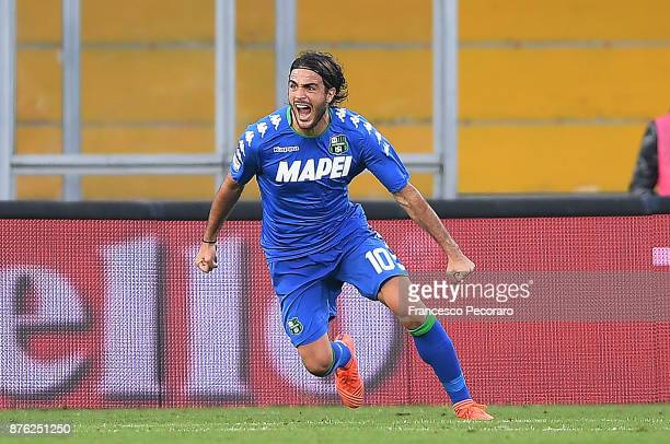 Alessandro Matri of US Sassuolo celebrates after scoring the 01 goal during the Serie A match between Benevento Calcio and US Sassuolo at Stadio Ciro...