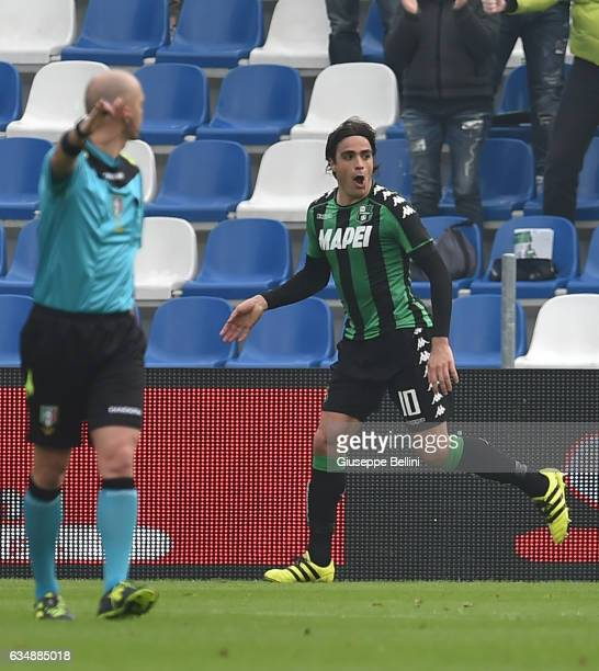 Alessandro Matri of US Sassuolo celebrates after scoring the opening goal during the Serie A match between US Sassuolo and AC Chievo Verona at Mapei...