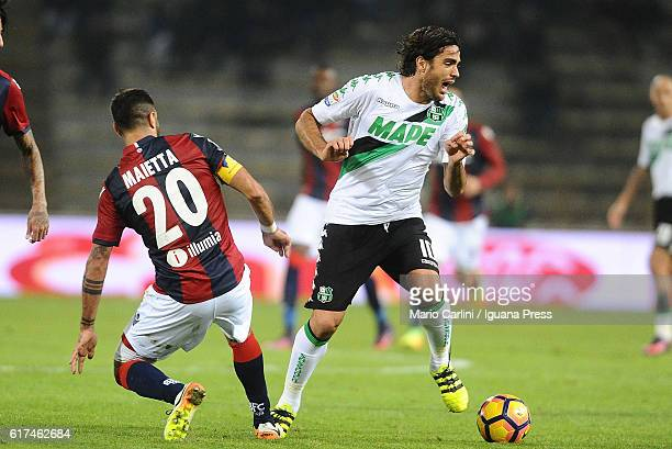 Alessandro Matri of US Sassuolo in action during the Serie A match between Bologna FC and US Sassuolo at Stadio Renato Dall'Ara on October 23 2016 in...