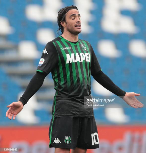Alessandro Matri of US Sassuolo reacts during the Serie A match between US Sassuolo and Parma Calcio at Mapei Stadium Citta' del Tricolore on April...