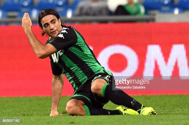 Alessandro Matri of US Sassuolo reacts during the Serie A match between US Sassuolo and Bologna FC at Mapei Stadium Citta' del Tricolore on September...