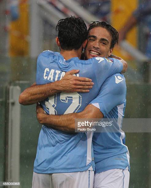 Alessandro Matri with his teammate Danilo Cataldi of SS Lazio celebrates after scoring the opening goal during the Serie A match between SS Lazio and...