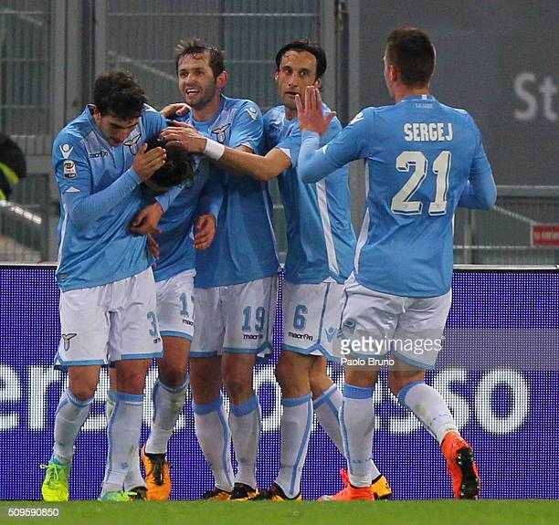 Alessandro Matri with his teammates of SS Lazio celebrates after scoring the opening goal during the Serie A match between SS Lazio and Hellas Verona...