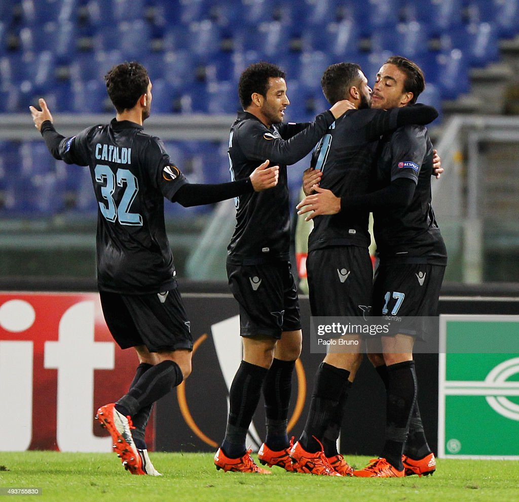 Alessandro Matri (R) with his teammatesof SS Lazio celebrates after scoring the opening goal during the UEFA Europa League group G match between SS Lazio and Rosenborg BK at Stadio Olimpico on October 22, 2015 in Rome, Italy.