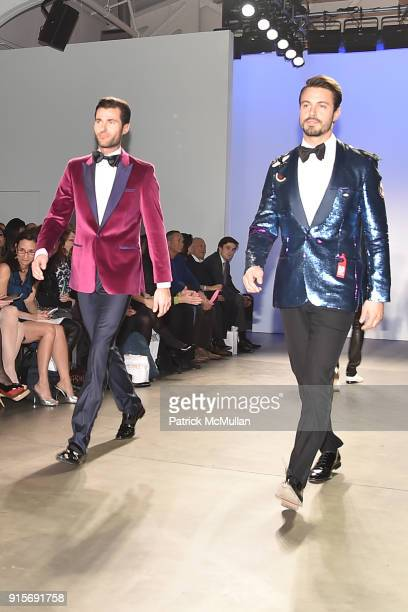 Alessandro Mele and Emanuele Fiore attend The Blue Jacket Fashion Show Benefiting Prostate Cancer Foundation at Pier 59 on February 7 2018 in New...