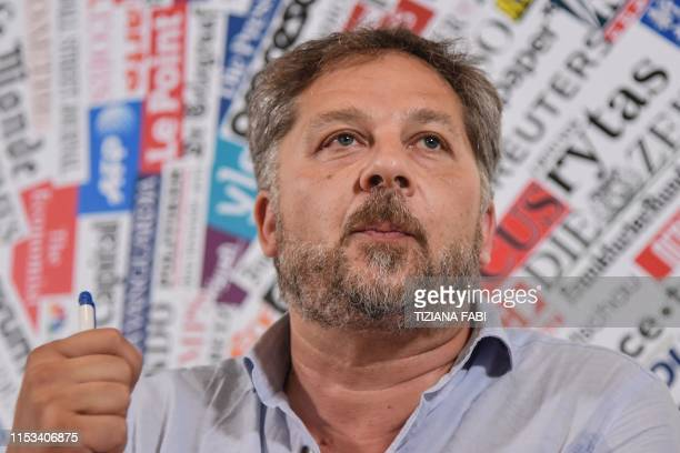 Alessandro Metz speaks during a joint press conference of humanitarian NGOs Sea Watch Doctors Without Borders Open Arms and Tavolo Asilo on July 3...