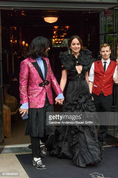 Alessandro Michele and Dakota Johnson are seen on May 01 2017 in New York City