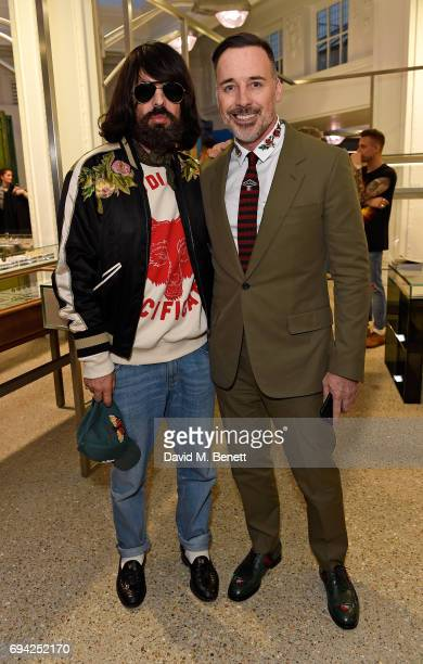 Alessandro Michele and David Furnish attend a cocktail event for the launch of a special Gucci PreFall capsule exclusive to Dover Street Market on...