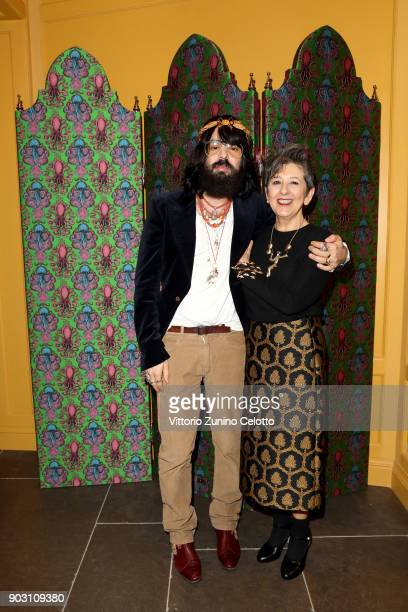 Alessandro Michele and Maria Luisa Frisa attend Gucci Garden Opening on January 9 2018 in Florence Italy