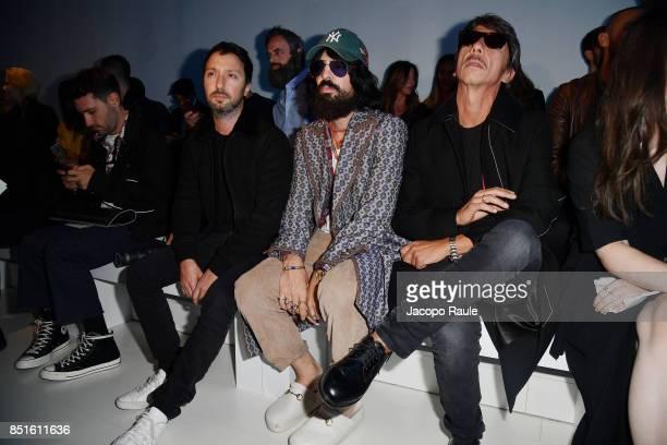 Alessandro Michele and Pierpaolo Piccioli attend the Versace show during Milan Fashion Week Spring/Summer 2018 on September 22 2017 in Milan Italy