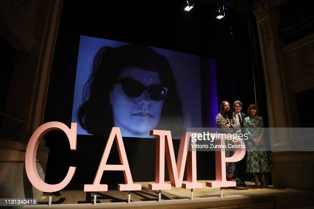 Alessandro Michele Andrew Bolton and Anna Wintour attend the Press Event for The Costume Institute's spring 2019 exhibition Camp Notes on Fashion on...