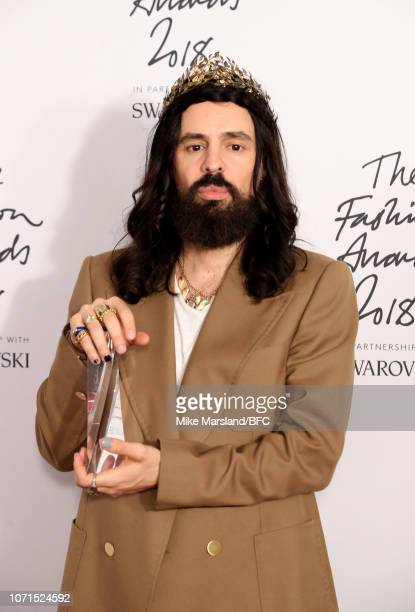 Alessandro Michele for Gucci winner of Brand of the Year in the winners room during The Fashion Awards 2018 In Partnership With Swarovski at Royal...