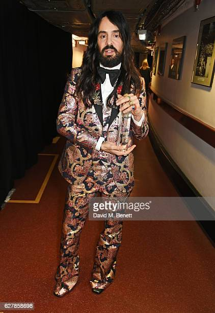 Alessandro Michele winner of the International Accessories Designer for Gucci poses backstage at The Fashion Awards 2016 at Royal Albert Hall on...