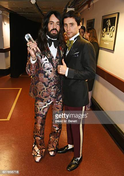 Alessandro Michele winner of the International Accessories Designer for Gucci and Jared Leto pose backstage at The Fashion Awards 2016 at Royal...