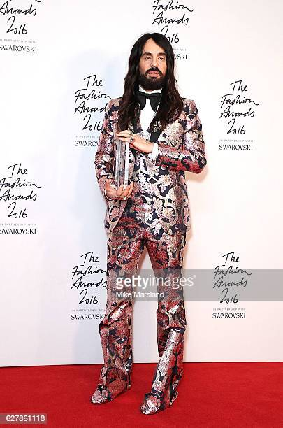Alessandro Michele winner of the International Accessories Designer for Gucci at The Fashion Awards 2016 at Royal Albert Hall on December 5 2016 in...