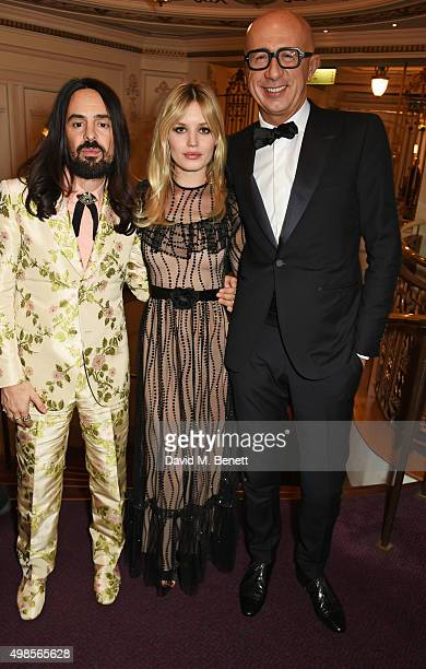 Alessandro Michele winner of the International Designer Award Georgia May Jagger and Marco Bizzarri attend the British Fashion Awards in partnership...