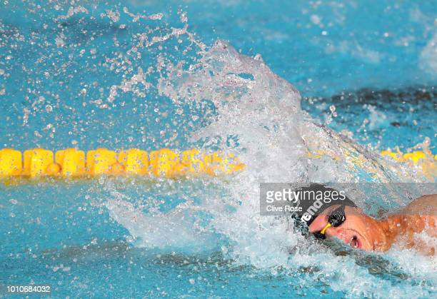 Alessandro Miressi of Italy competes in Men's 100m Freestyle Preliminary round during the swimming on Day three of the European Championships Glasgow...