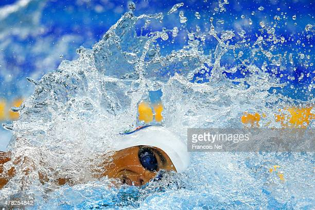 Alessandro Miressi of Italy competes in the Men's 100m Freestyle semi final on day twelve of the Baku 2015 European Games at the Baku Aquatics Centre...
