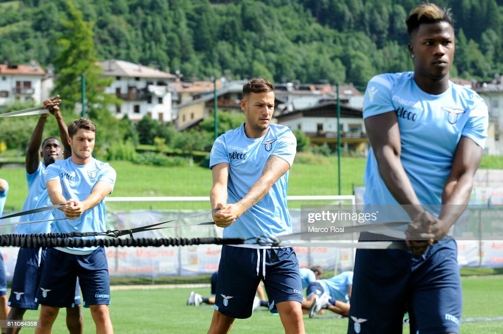 Alessandro Murgia and Balde Diao Keita of SS Lazio during the SS Lazio Training Camp - Day 1 on July 9, 2017 in Rome, Italy.