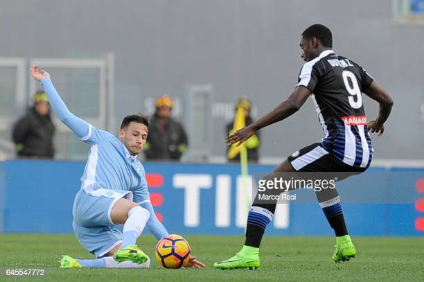 Alessandro Murgia and Felipe Anderson of SS Lazio compete for the ball with Duvan Zapata of Udinese Calcio during the Serie A match between SS Lazio...
