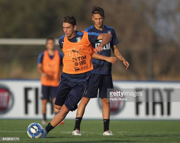 Alessandro Murgia and Manuel Locatelli of Italy U21 in action during the Italy U21 training session on August 29 2017 in Rome Italy