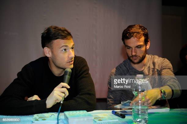 Alessandro Murgia and Marco Parolo SS Lazio meets school students with his teammates at the school San Sisto in Rome on March 16 2017 in Rome Italy