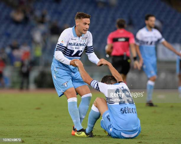 Alessandro Murgia and Senad Lulic during the Italian Serie A football match between SS Lazio and Frosinone at the Olympic Stadium in Rome on...