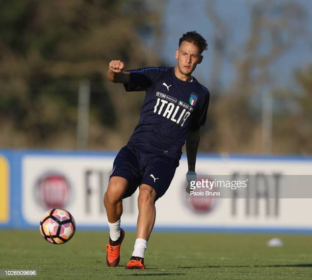 Alessandro Murgia in action during the Italy U21 training session at Mancini Park hotel on September 3 2018 in Rome Italy