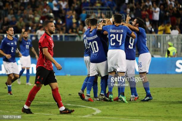 Alessandro Murgia of Italy celebrates his goal 21 during the International Friendly match between Italy and Albania on September 11 2018 in Cagliari...