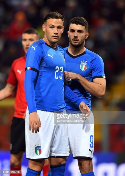 Alessandro Murgia of Italy U21 and Patrik Cutrone of Italy U21 during the International Friendly match between Italy U21 and Austria U21 at Stadio...
