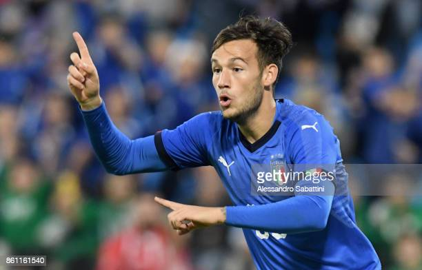 Alessandro Murgia of Italy U21 gestures during the international friendly match between Italy U21 and Morocco U21 at Stadio Paolo Mazza on October 10...