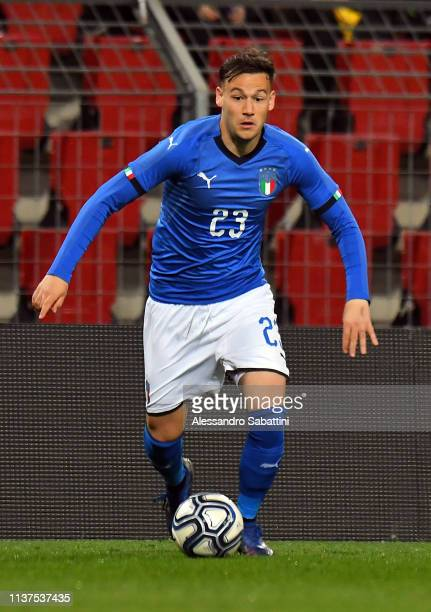 Alessandro Murgia of Italy U21 in action during the International Friendly match between Italy U21 and Austria U21 at Stadio Nereo Rocco on March 21...