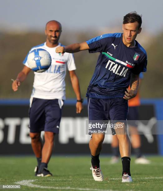 Alessandro Murgia of Italy U21 in action during the Italy U21 training session on August 29 2017 in Rome Italy