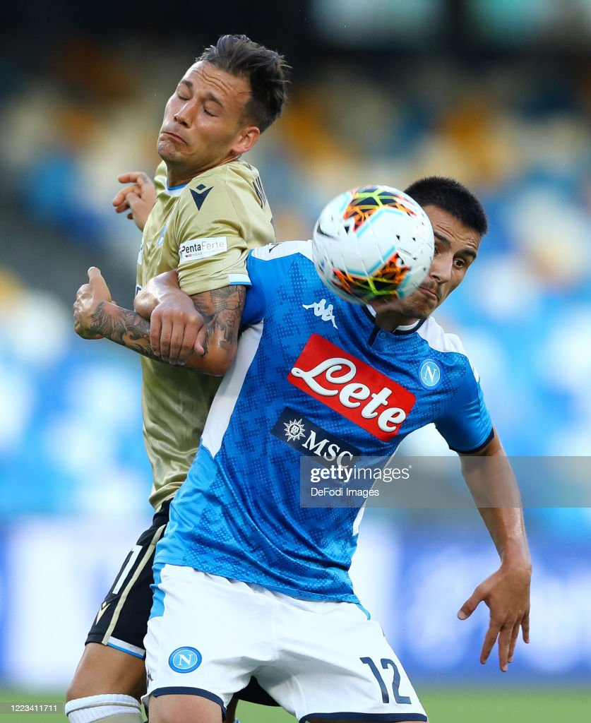Alessandro Murgia of SPAL and Eljif Elmas of Napoli battle for the... News  Photo - Getty Images