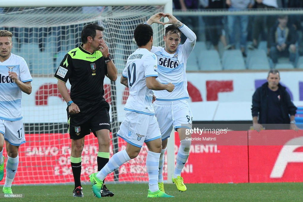 Alessandro Murgia #96 of SS Lazio celebrates after scoring a goal during the Serie A match between ACF Fiorentina and SS Lazio at Stadio Artemio Franchi on May 13, 2017 in Florence, Italy.