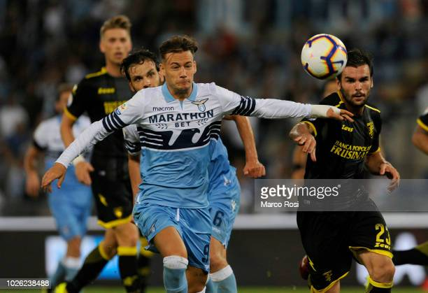 Alessandro Murgia of SS Lazio compete for the ball with Nicol˜ Brighenti of Frosinone Calico during the serie A match between SS Lazio and Frosinone...
