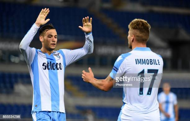 Alessandro Murgia of SSLazio and Ciro Immobile of SSLazio celebrates scoring a goal during the UEFA Europa League Group K stage match between SS...