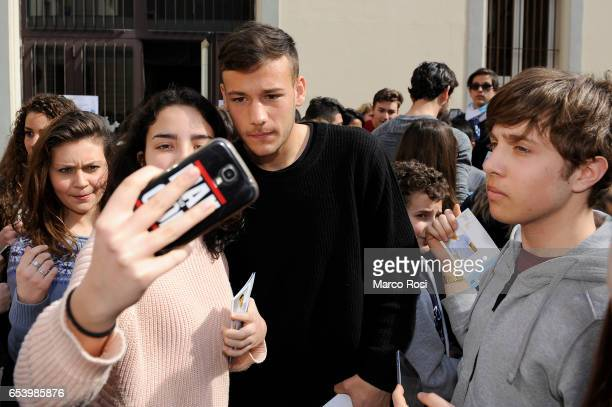 Alessandro Murgia SS Lazio meets school students with his teammates at the school San Sisto in Rome on March 16 2017 in Rome Italy