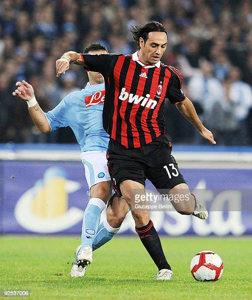 Alessandro Nesta AC Milan in action during the Serie A match between SSC Napoli and AC Milan at Stadio San Paolo on October 28 2009 in Rome Italy
