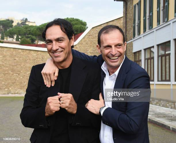 Alessandro Nesta and Massimiliano Allegri chat at Centro Tecnico Federale di Coverciano on November 12 2018 in Florence Italy