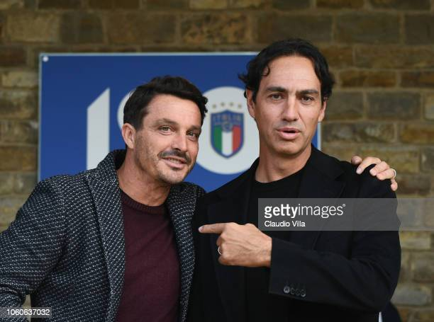 Alessandro Nesta and Massimo Oddo chat at Centro Tecnico Federale di Coverciano on November 12 2018 in Florence Italy