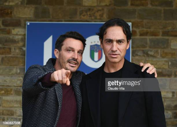 Alessandro Nesta and Massimo Oddo chat at Centro Tecnico Federale di Coverciano on November 12 2018 in Florence Italy