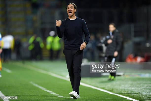 Alessandro Nesta Frosinone coach during the Serie B match between Frosinone and Salernitana at Stadio Benito Stirpe on February 29, 2020 in...
