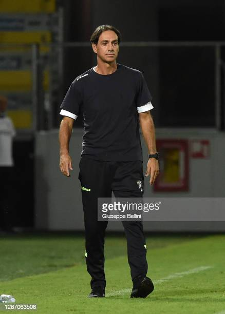 Alessandro Nesta head coach of Frosinone Calcio looks on during the Serie B Playoff Final first leg match between Frosinone Calcio and Spezia Calcio...