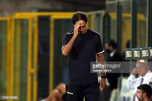 Alessandro Nesta manager of Frosinone calcio gestures during the Serie B Playoff Final second leg match between Spezia Calcio and Frosinone Calcioon...