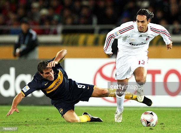 Alessandro Nesta of AC Milan and Martin Palermo of Boca Juniors compete for the ball during the FIFA Club World Cup final between Boca Juniors and AC...